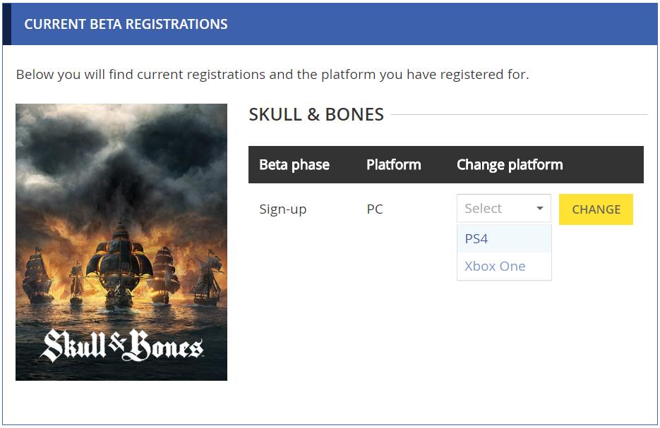 Dropdown menu allowing to change beta platform