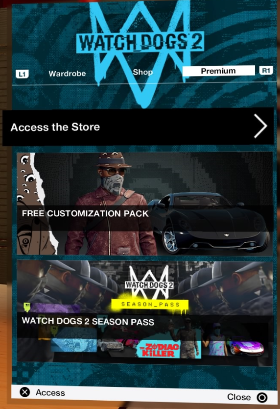 Shop menu showing premium store
