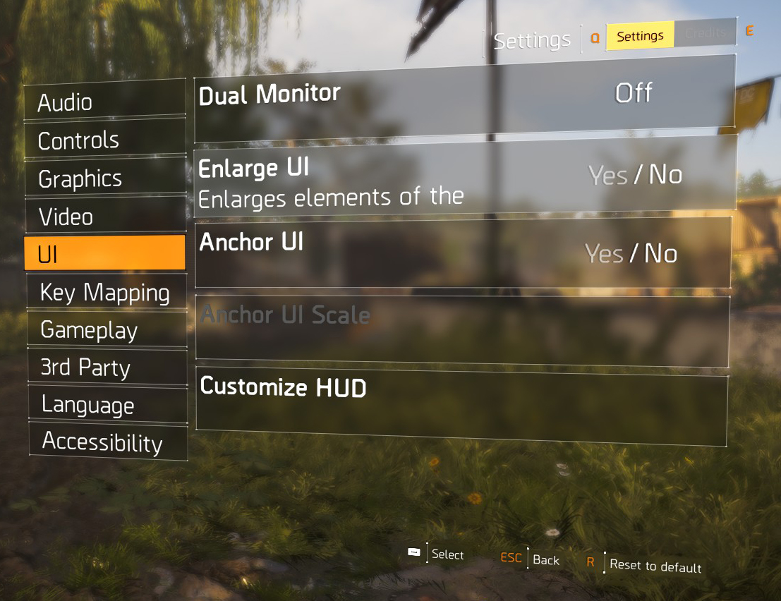 Heads Up Display (HUD) management in The Division 2