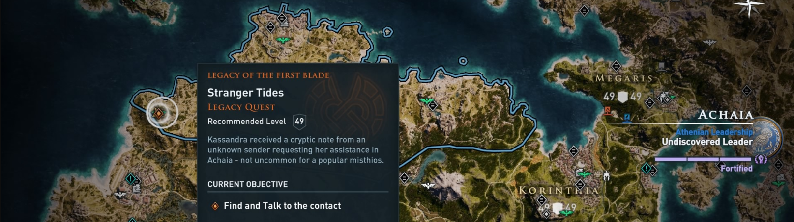 Map of Achaia displaying the second quest chain of the Legacy of the First Blade