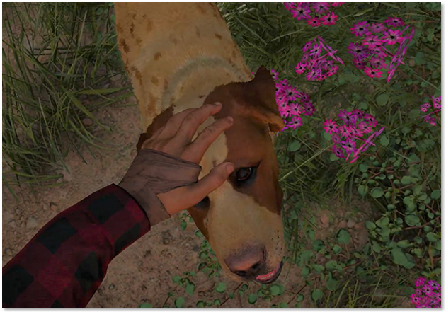 Player character petting the head of a dog in Prosperity