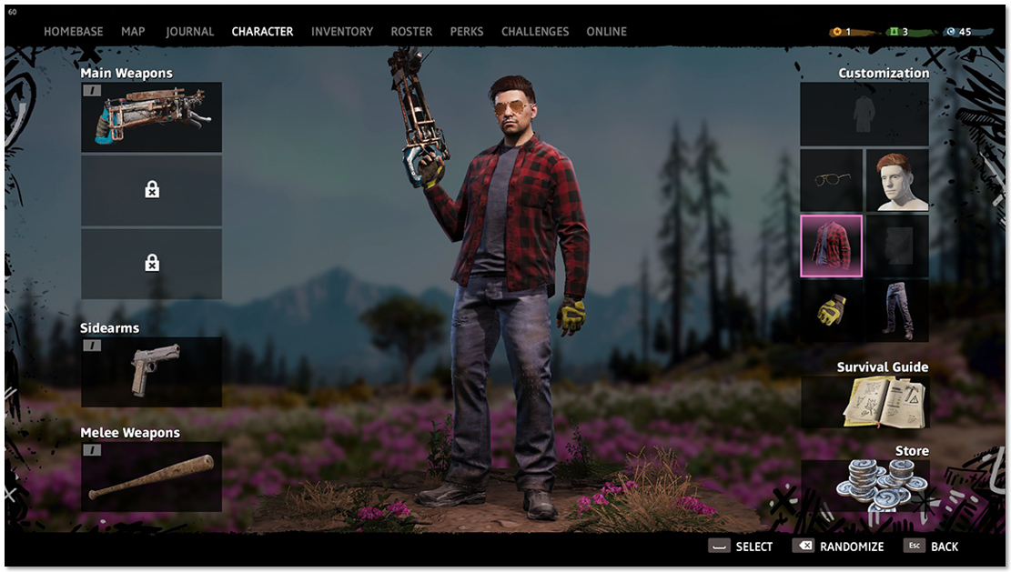Character tab showing the options to change weapons, clothing, access to the Survival Guide and Store purchases