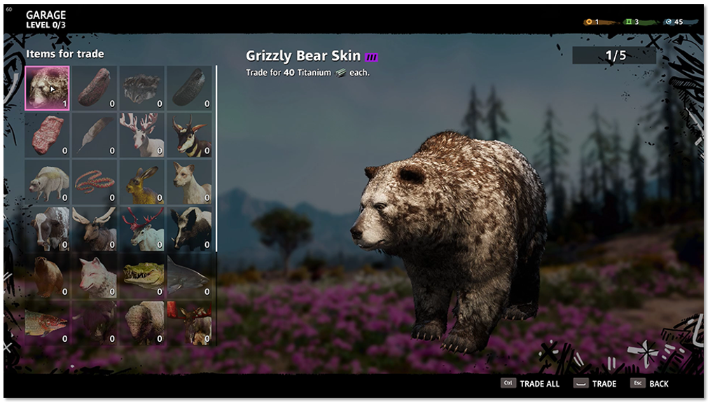 Trade Loot menu highlighting a Black Bear Skin