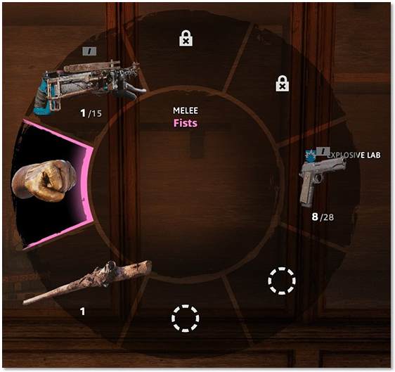 "Weapon wheel highlighting ""Fists"""
