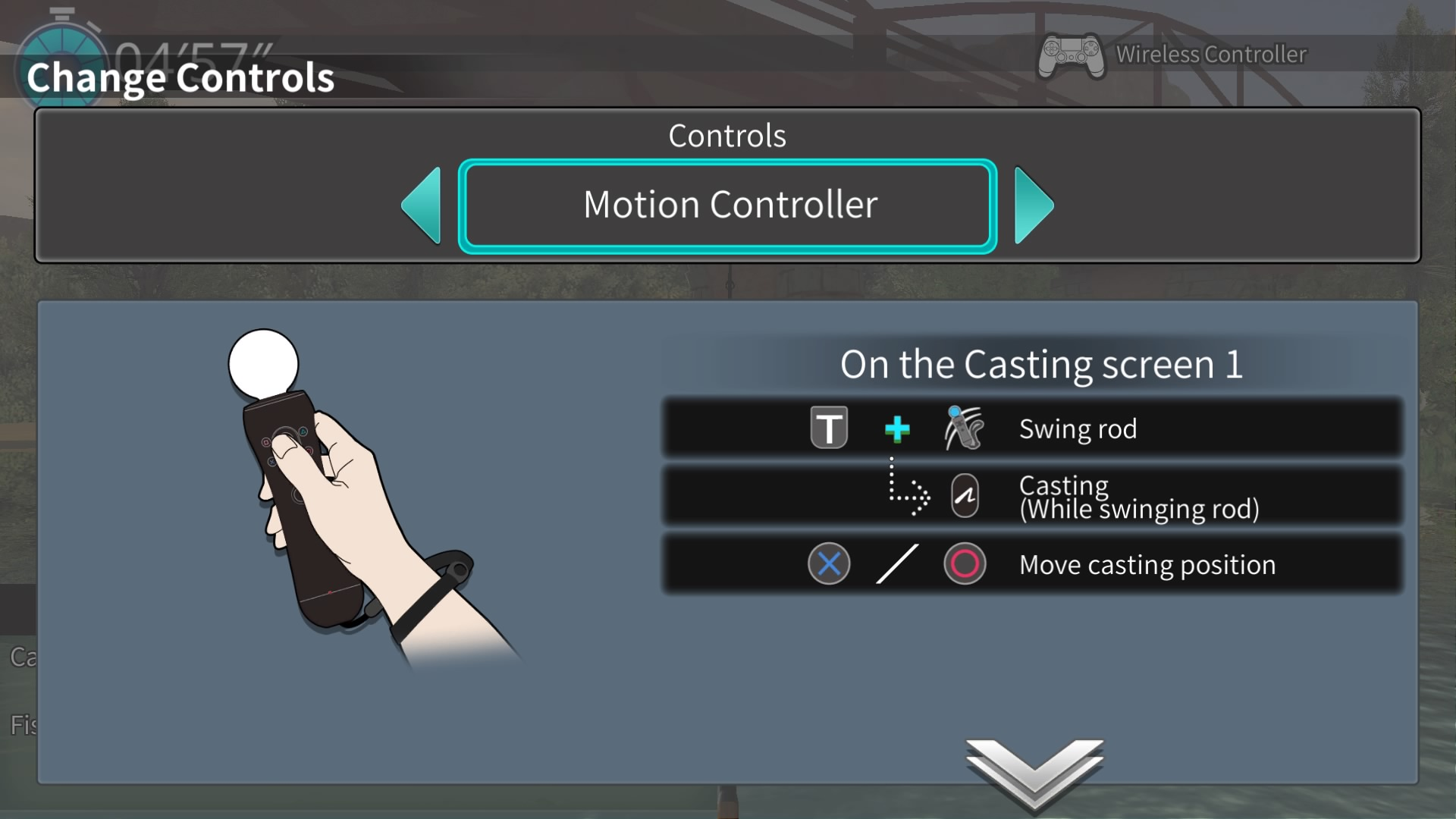 Image of menu showing where motion controls can be activated
