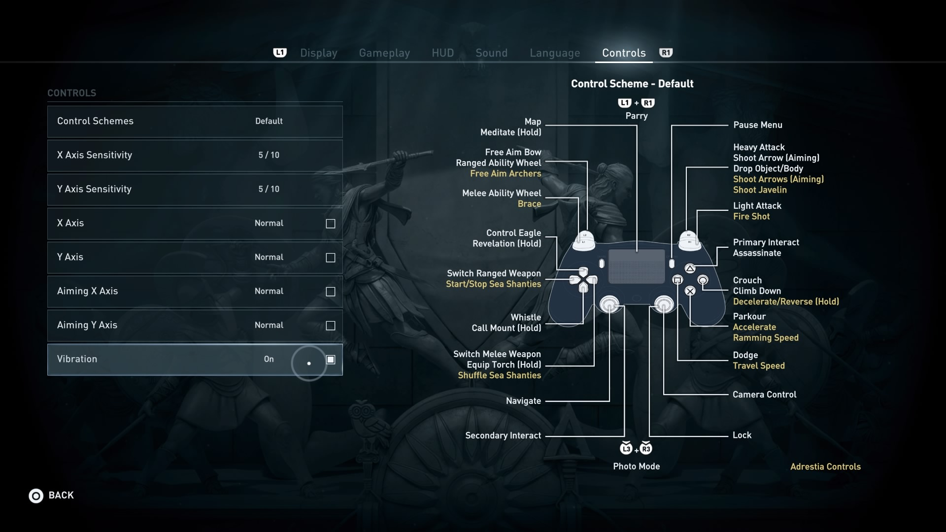 Enabling vibration feedback in Assassin's Creed: Odyssey