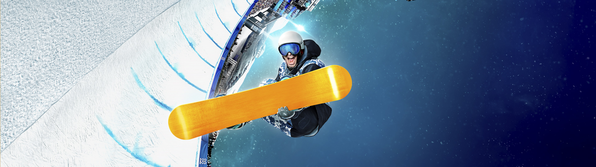 X Games splash art of snowboarder performing a trick
