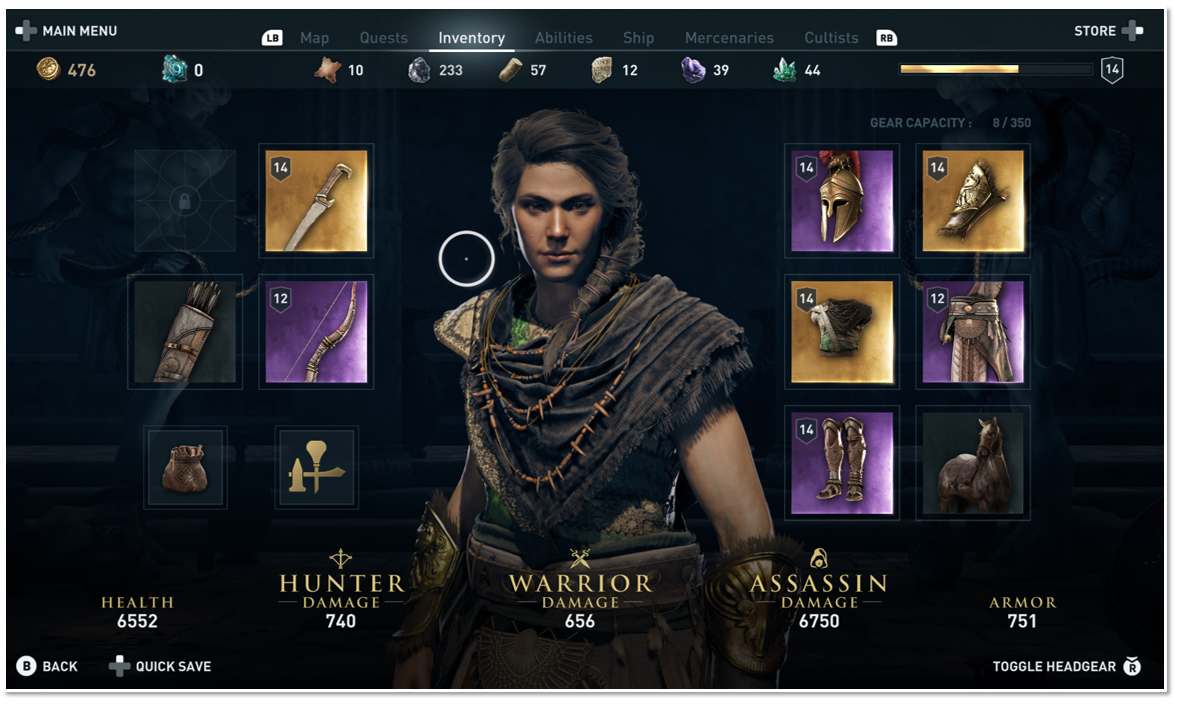 Inventory screen showing different items of different rarity