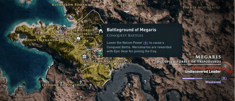 Battleground of Megaris shown on the world map